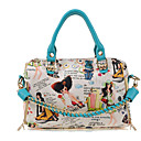 Women's Cute Print Chain PU Satchel(33*34*5cm)