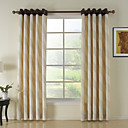 (Two Panels) Modern Beige Stripe Energy Saving Curtains