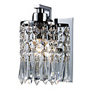 60W Modern Wall Light with Crystal Pendants in Polished Chrome