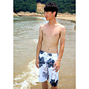 Mens Beach Casual Summer-season Dark Blue Flower Pattern Trunks