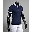 Men's Shirt Collar Contrast Color Short Sleeve T-shirt