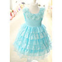 Sweet Sleeveless Cotton/Tulle Wedding/Evening Flower Girl Dress