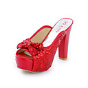 Leatherette Chunky Heel Sandals With Sequin Party / Evening Shoes (More Colors)