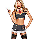 Sexy Black and White Striped Polyester Bad Girl School Uniform(4 Pieces)