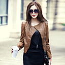 Nice Long Sleeve Collarless PU Casual/Party Jacket