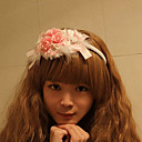 Pink Flower and Bow Cony Hair Sweet Princess Lolita Headband