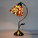 40W Classic Tiffany Table Light with Floral Stained Glass Shade in Arc Arm Style