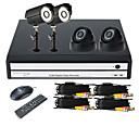 Kit DVR 4 canaux avec le visionnement Smartphone (2 x camras extrieures, camra dme 2x)
