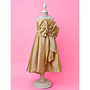 A-line Spaghetti Straps Tea-length Taffeta Flower Girl Dress