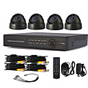 4 Channel One-Touch Online CCTV DVR System (4 Indoor Dome-Kamera)