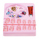 Nail Art Set(1 Nail Glue+12 Nail Tips+Nail Decorations,Random Color)