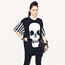 Women's Plus Size Skull Print Stripe T-Shirt