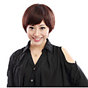 Capless Short Chestnut Brown Straight Human Hair Wigs Side Bang