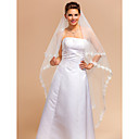Elegant One-tier Waltz Wedding Veils With Lace Applique/Finished Edge