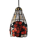40W Tiffany Pendant Light with Stained Glass Shade in Floral Design