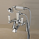 Contemporary Centerset Solid Brass Double Handles Bridge Bathtub Faucet with Hand Shower(Chrome Finish)