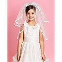Beautiful Crown Wedding Flower Girl Veil With Lace Applique Edge
