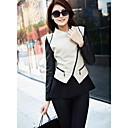 Women's Contrast Color Lapel Zipper Short Coat
