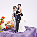 Playful Football Couple Figurine Wedding Cake Topper