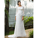 Sheath/Column Scoop Court Train Lace Wedding Dress