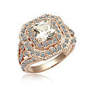 CZ Cubic Zirconia and Alloy 18K Gold Plated Rings(Surface Width:20 mm)