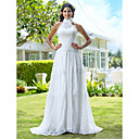 Sheath/Column High Neck Court Train Lace And Chiffon Wedding Dress