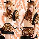Sexy Yellow Tiger Stripes Cat Woman Costume (5 Pieces)