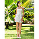 Sheath/Column Strapless Short/Mini Lace Wedding Dress