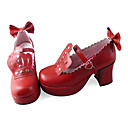 Handmade Red Crown PU Leather 7.5cm High Heel Punk Lolita Shoes