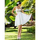A-line Sweetheart Knee-length Chiffon Wedding Dress