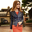 Long Sleeve Turndown Collar PU Casual/Party Jacket