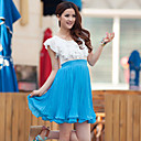 Beach wings Blue and White Spell Color Lace Pleat Waist Dress(chest circumference:72cm-98cm)