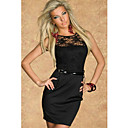 Black Sunflower Lace Cut-out Back Dress(Bust:86-102cm Waist:58-79cm  Hip:90-104cm Length:78cm)