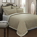 5PCS White Stripe Pattern Linen Duvet Cover Set