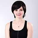Capless Short Lovely Straight Black 100% Human Hair Wig Side Bang