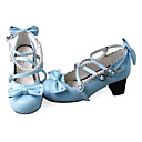 Handmade Sky Blue PU Leather 6.3cm High Heel Country Lolita Shoes with Pearls