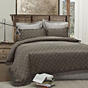 3PCS Coffee Plaid Lace Poly/Cotton Duvet Cover Set