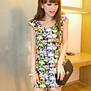suyisoda Fashion Round Sleevless Flower Print Bodycon Cotton Dress