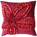Red 3D Floral Design Polyester Decorative Pillow Cover