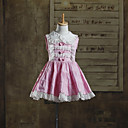 Cute Baby Sleeveless Knee-length Pink Cotton Kids Lolita Dress with White Lace