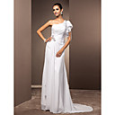 Sheath/Column One Shoulder Sweep/Brush Train Chiffon Wedding Dress