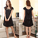 Women's Black Stylish Sexy Elegant Comfortable Lace Falbala Chemises & Gowns Waist 100cm