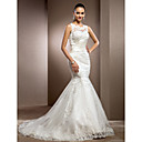 Trumpet/Mermaid Jewel Court Train Lace Wedding Dress