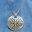 Sterling Silver Round Shape With Floral Motif Pendant (FMR-023)